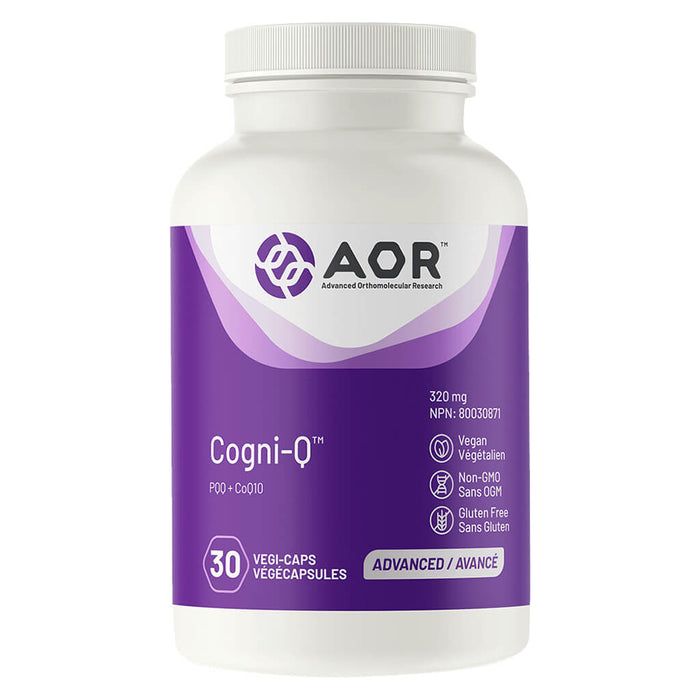 Bottle of AOR Cogni-Q 30 Vegi-Caps
