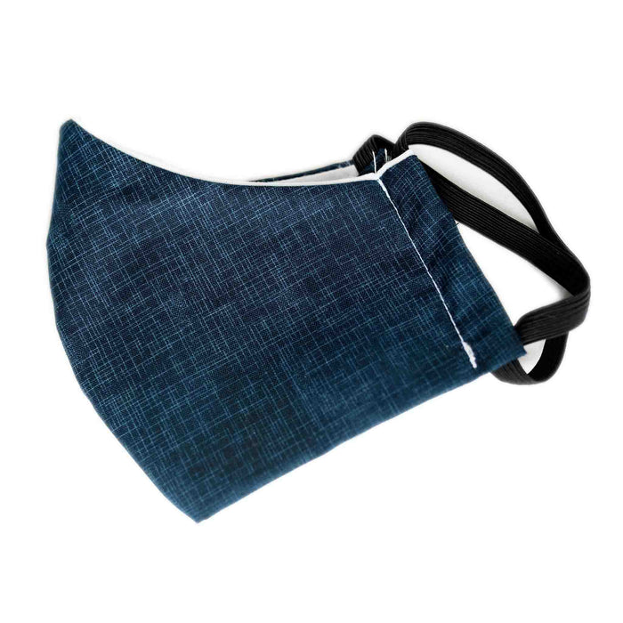 Colibri Face Mask Blue Linen Fabric Behind Ear Elastic Loops