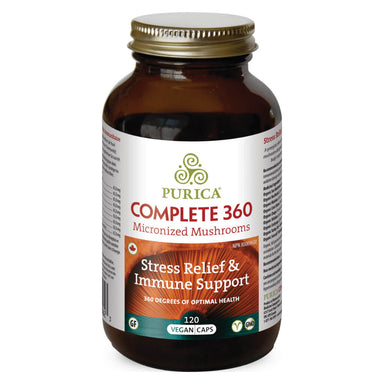 Bottle of Complete 360 Capsules Micronized Mushrooms 120 Vegan Capsules