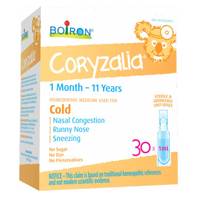 Box of Boiron Children's Coryzalia 30 Doses