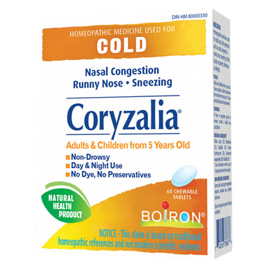 Box of Boiron Coryzalia® Cold 60 Chewable Tablets