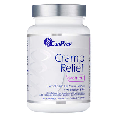 Bottle of CanPrev Cramp Relief - Women 120 Vegetable Capsules