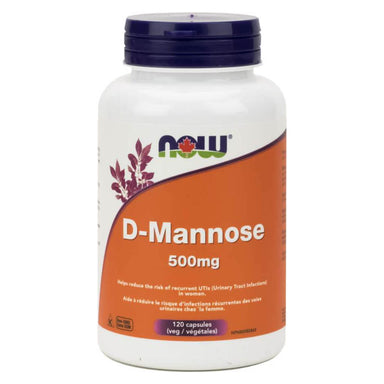Bottle of D-Mannose 500 mg 120 Vegetable Capsules