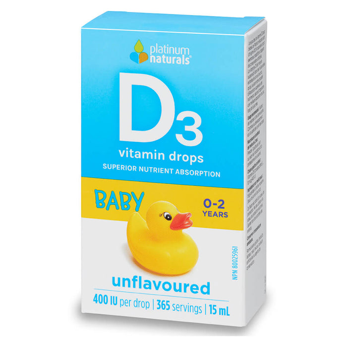 Box of D3 Vitamin Drops Baby Unflavoured 15 Milliliters