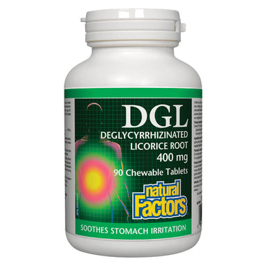 Bottle of DGL Deglycyrrhizinated Licorice Root 400 mg 90 Chewable Tablets