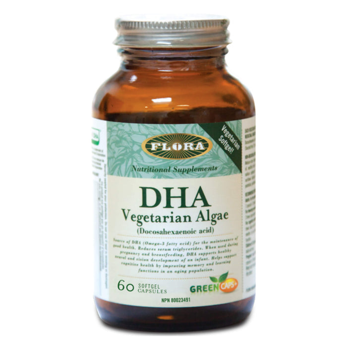 Bottle of Flora DHA - Vegetarian Algae 60 Softgel Capsules