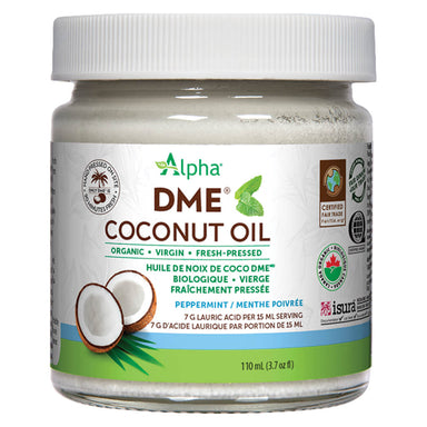 Jar of Alpha Health DME Coconut Oil Peppermint Flavour 110 mL