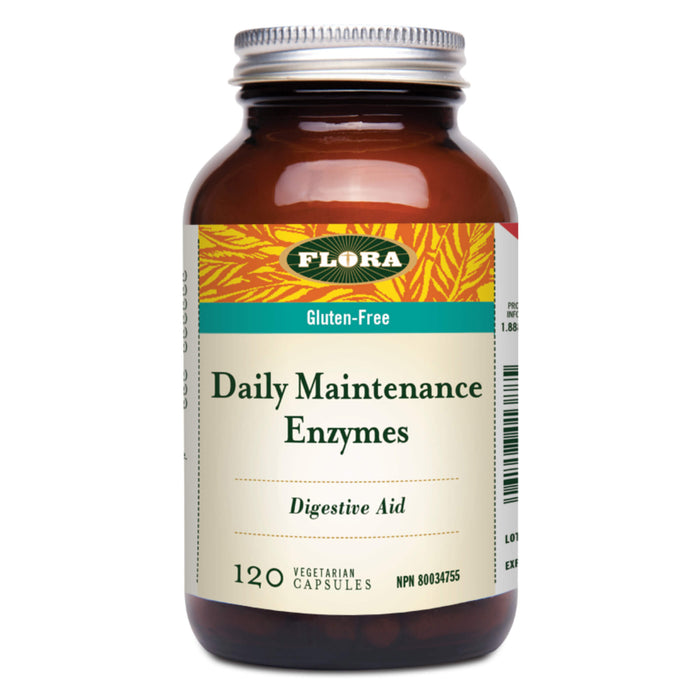 Bottle of Flora Daily Maintenance Enzymes 120 Vegetarian Capsules
