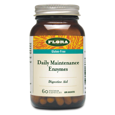 Bottle of Flora Daily Maintenance Enzymes 60 Vegetarian Capsules