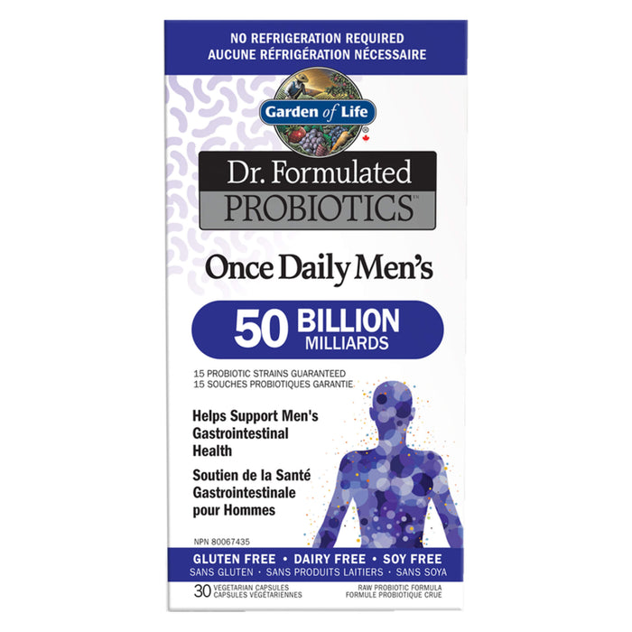Box of Garden of Life Dr. Formulated Probiotics Once Daily Men's 50 Billion CFU Shelf Stable 30 Vegetarian Capsules