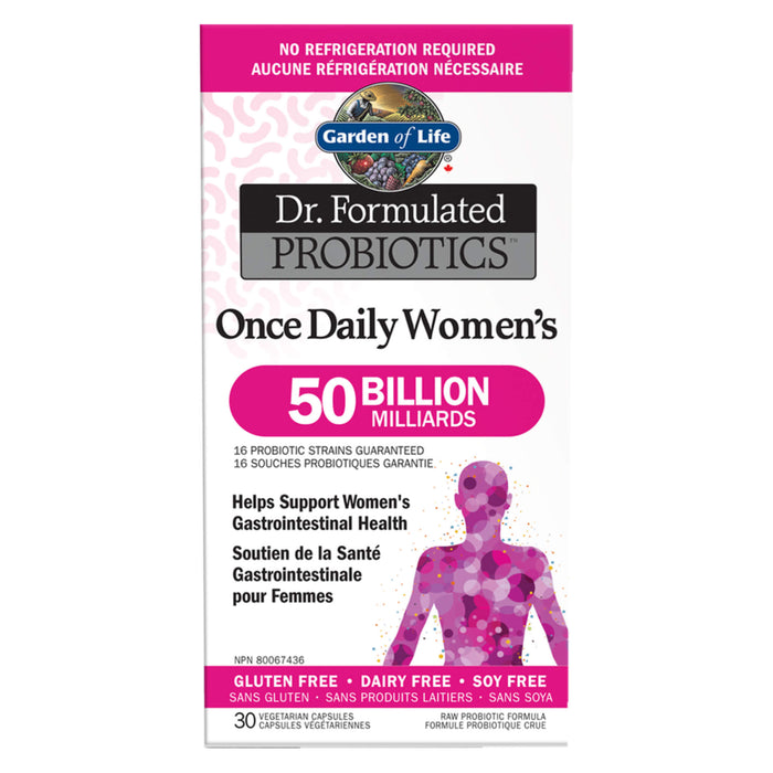 Box of Garden of Life Dr. Formulated Probiotics Once Daily Women's 50 Billion CFU Shelf Stable 30 Vegetarian Capsules