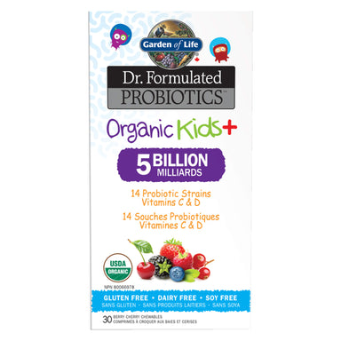 Box of Garden of Life Dr. Formulated Probiotics Organic Kids+ 5 Billion CFU Berry Cherry (Cooler) 30 Chewables