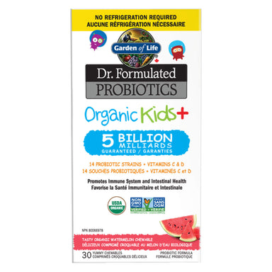 Box of Garden of Life Dr. Formulated Probiotics Organic Kids+ 5 Billion CFU Watermelon Shelf Stable 30 Chewables