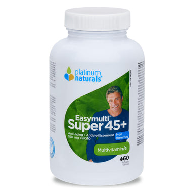 Bottle of Platinum Naturals EasyMulti® Super 45+ for Men 60 Softgels