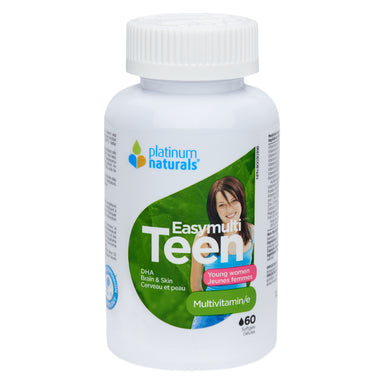 Bottle of Platinum Naturals EasyMulti Teen Young Women Multivitamin 60 Softgels | Optimum Health Vitamins, Canada