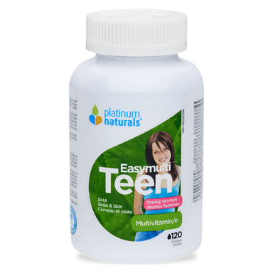 Bottle of Platinum Naturals EasyMulti Teen Young Women Multivitamin 120 Softgels | Optimum Health Vitamins, Canada