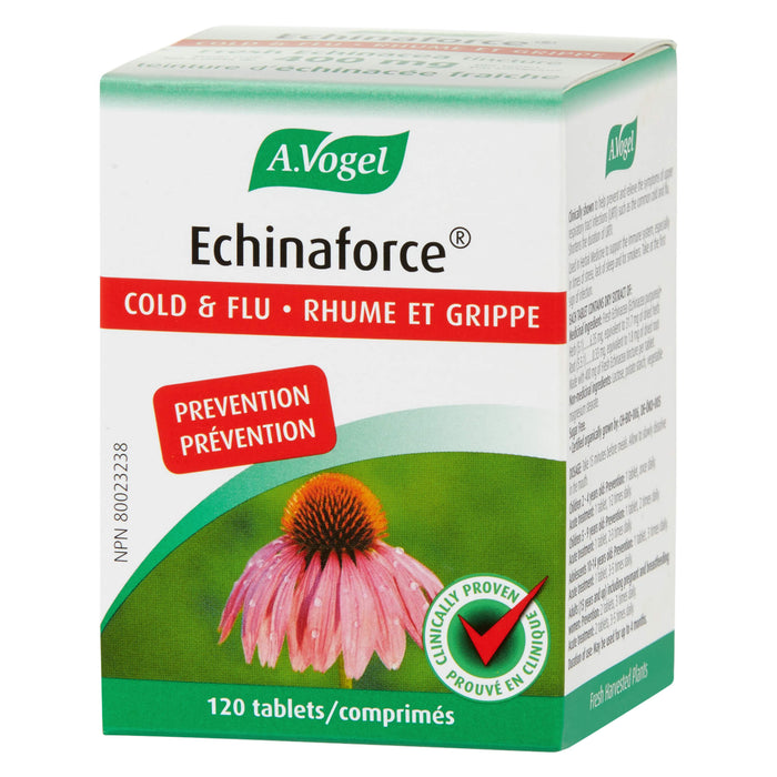 Box of A. Vogel Echinaforce Cold & Flu Prevention 120 Tablets | Optimum Health Vitamins, Canada