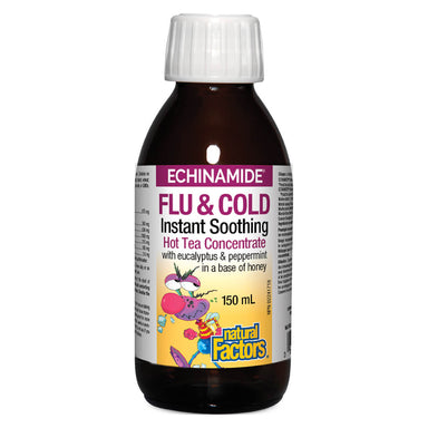 Bottle of Echinamide® Flu & Cold Instant Soothing Hot Tea Concentrate 150 Milliliters
