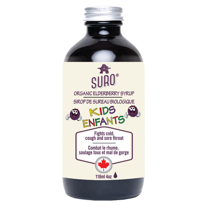 Bottle of Suro Organic Elderberry Syrup for Kids 118 Milliliters