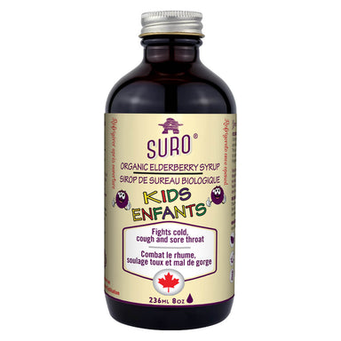 Bottle of Suro Organic Elderberry Syrup for Kids 236 Milliliters