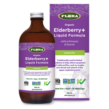 Bottle and Box of Flora Elderberry+ Liquid Formula 500 Milliliters