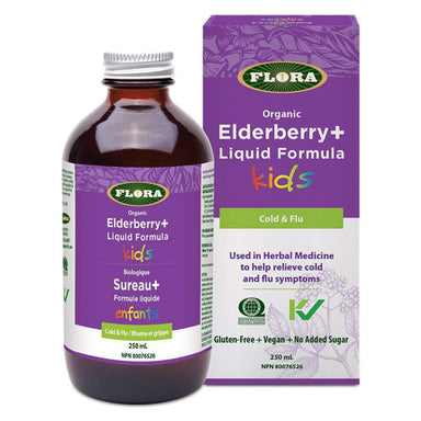 Bottle and Box of Flora Elderberry+ Liquid Formula for Kids 250 Milliliters