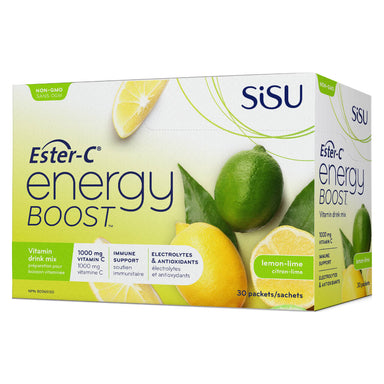 Box of Ester-C Energy Boost Vitamin Drink Mix Lemon Lime 30 Packets