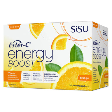 Box of Ester-C Energy Boost Vitamin Drink Mix Orange 30 Packets