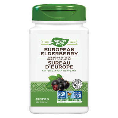 Bottle of Nature's Way European Elderberry 100 Capsules