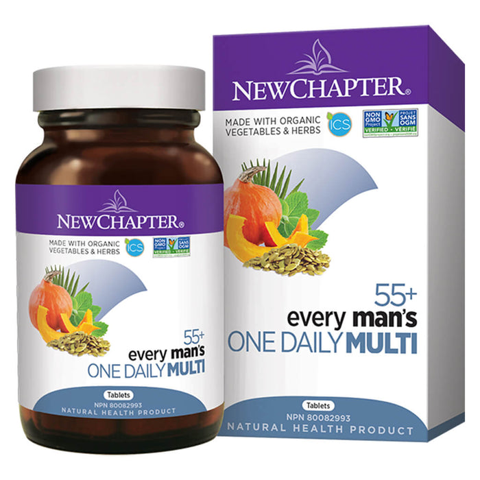 Bottle & Box of New Chapter Every Man's One Daily Multivitamin 55+