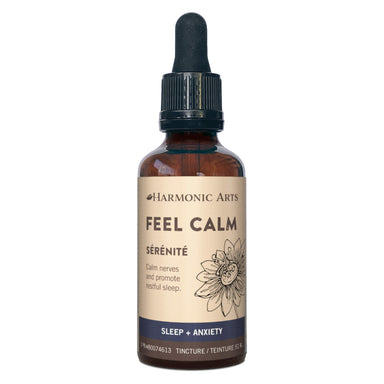 Dropper Bottle of Harmonic Arts Feel Calm Tincture 50 Milliliters