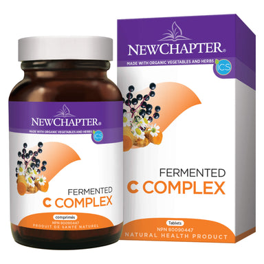 Box and Bottle of New Chapter Fermented C Complex 30 Tablets