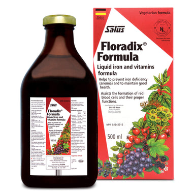 Bottle and Box of Salus Floradix® Iron & Vitamins Formula Shrink Pack 500 Milliliters