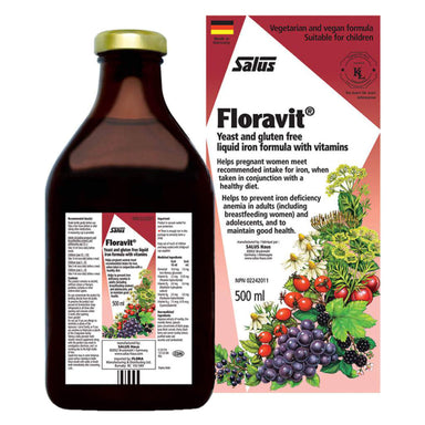 Bottle and Box of Salus Floravit® Yeast & Gluten Free Iron Formula with Vitamins 500 Milliliters
