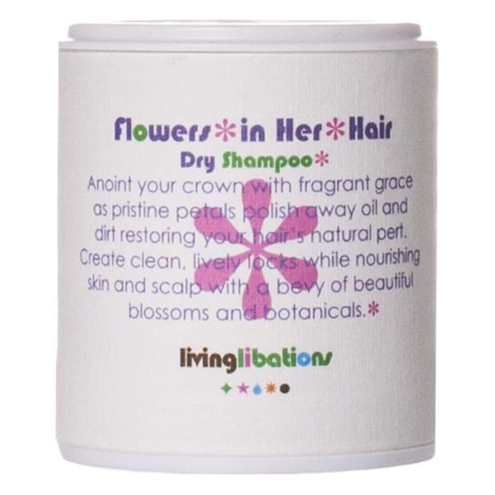 Container of Living Libations Flowers in Her Hair Dry Shampoo 1 Ounce