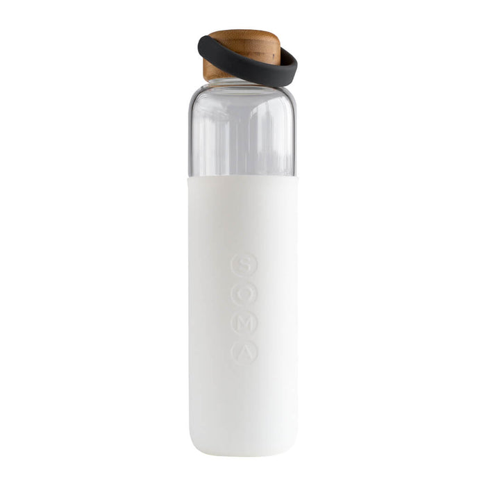 Soma Glass Water Bottle White 24 Ounces 750 Milliliters