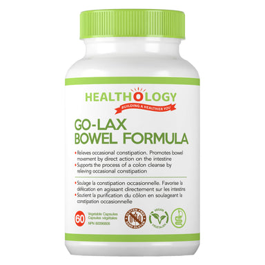 Bottle of Healthology Go-Lax Bowel Formula 60 Vegetable Capsules