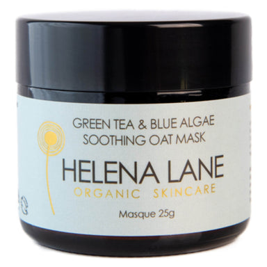 Jar of Helena Lane Green Tea & Blue Algae Soothing Oat Masque 25 Grams
