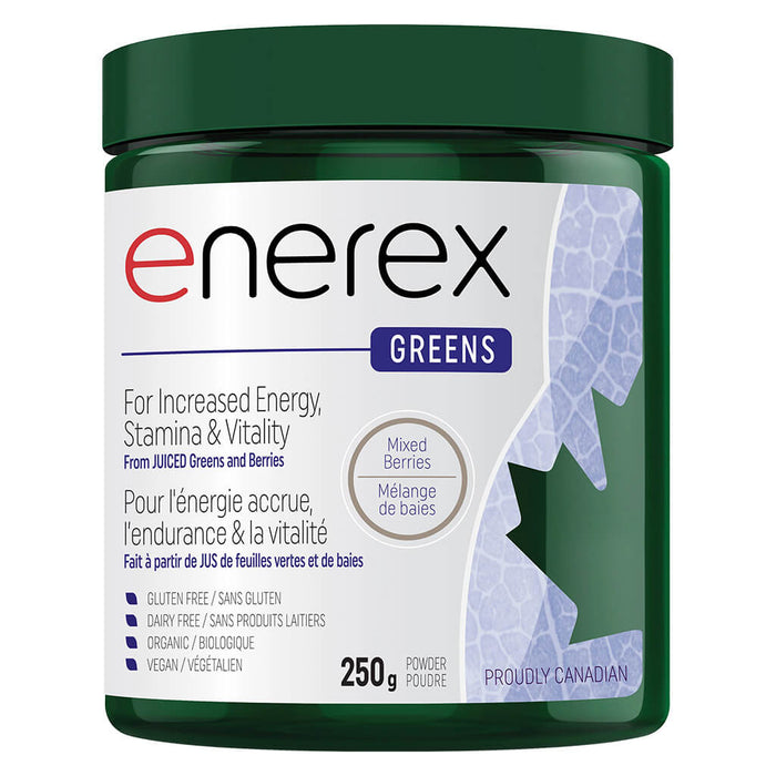 Bottle of Enerex Greens Mixed Berries 250 Grams