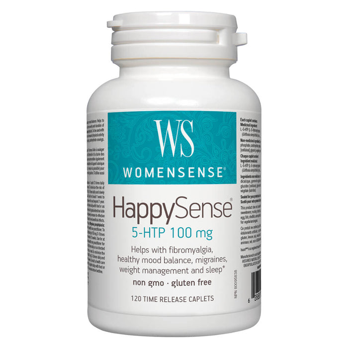 Bottle of WomenSense HappySense 5-HTP 100 mg 120 Time-Release Caplets