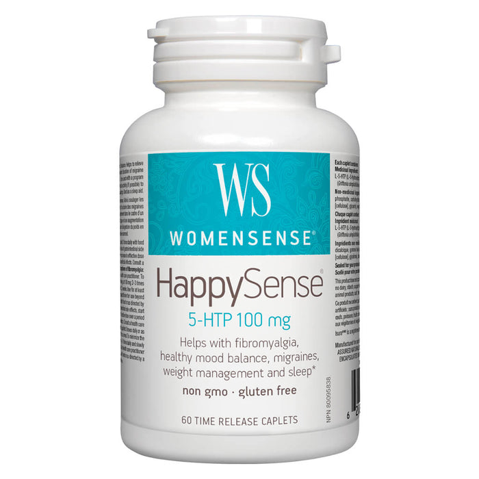 Bottle of WomenSense HappySense 5-HTP 100 mg 60 Time-Release Caplets