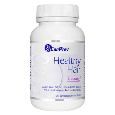 Bottle of CanPrev Healthy Hair 30 Softgels