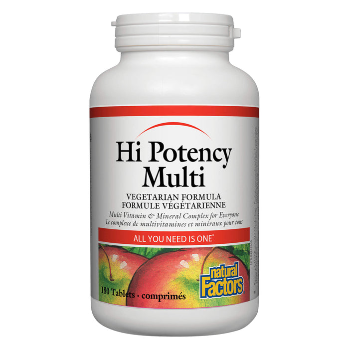 Bottle of Natural Factors Hi Potency Multi 180 Tablets