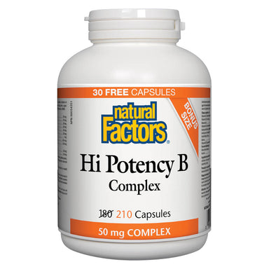 Bottle of Hi Potency B Complex 50 mg 210 Capsules Bonus Size
