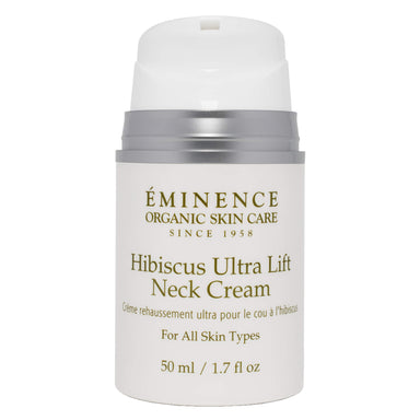 Pump Bottle of Eminence Hibiscus Ultra Lift Neck Cream 50 Milliliters