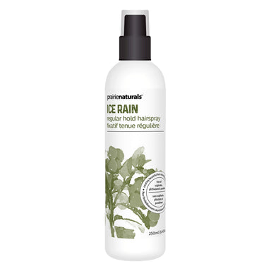 Spray Bottle of Prairie Naturals Ice Rain Flexible Hairspray 250 Millilters