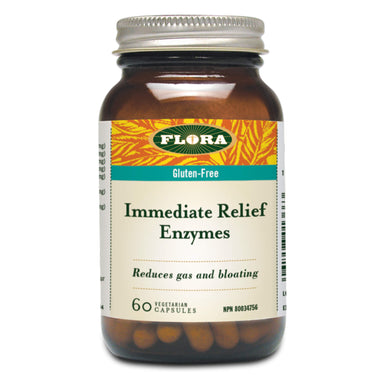 Bottle of Flora Immediate Relief Enzymes 60 Vegetarian Capsules