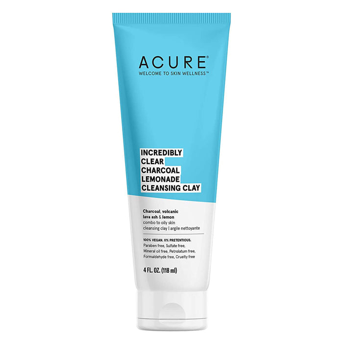 Bottle of Acure Incredibly Clear Charcoal Lemonade Cleansing Clay 4 Fluid Ounces