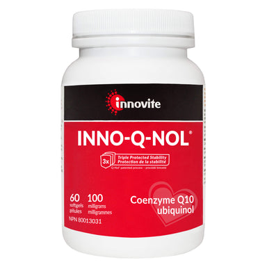 Bottle of Innovite Inno-Q-Nol 100 Milligrams 60 Softgels | Optimum Health Vitamins, Canada