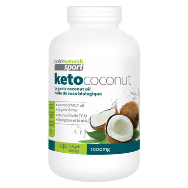 Bottle of Prairie Naturals KetoCoconut 240 Softgels